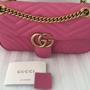 Gucci marmont medium pink leather bag